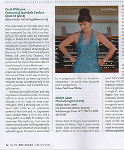 Carol's review in the Organ                   Magazine